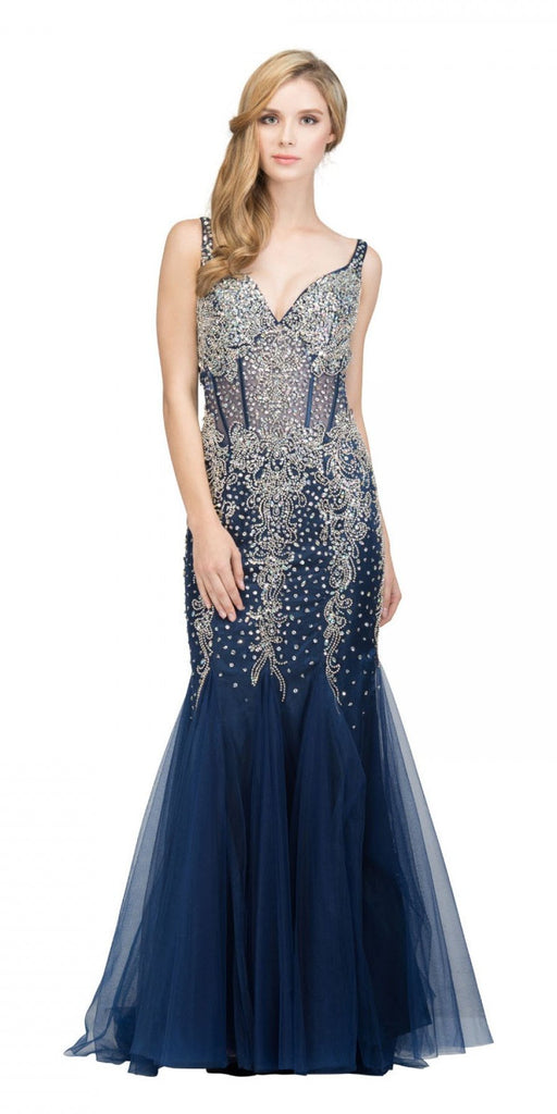 Mermaid Beaded Evening Gown V-Neck Sheer Midriff Silver