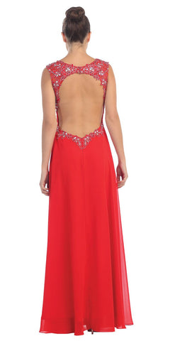 Red V-Neck Sleeveless Long Prom Dress Cut-Out Back