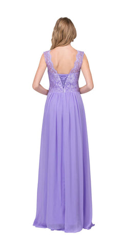Starbox USA 6144 Lilac Floor Length Formal Dress Lace Up Back Sleeveless Back View