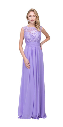 Starbox USA 6144 Lilac Floor Length Formal Dress Lace Up Back Sleeveless