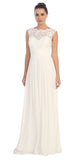 Off White Floor Length Formal Dress Lace Up Back Sleeveless