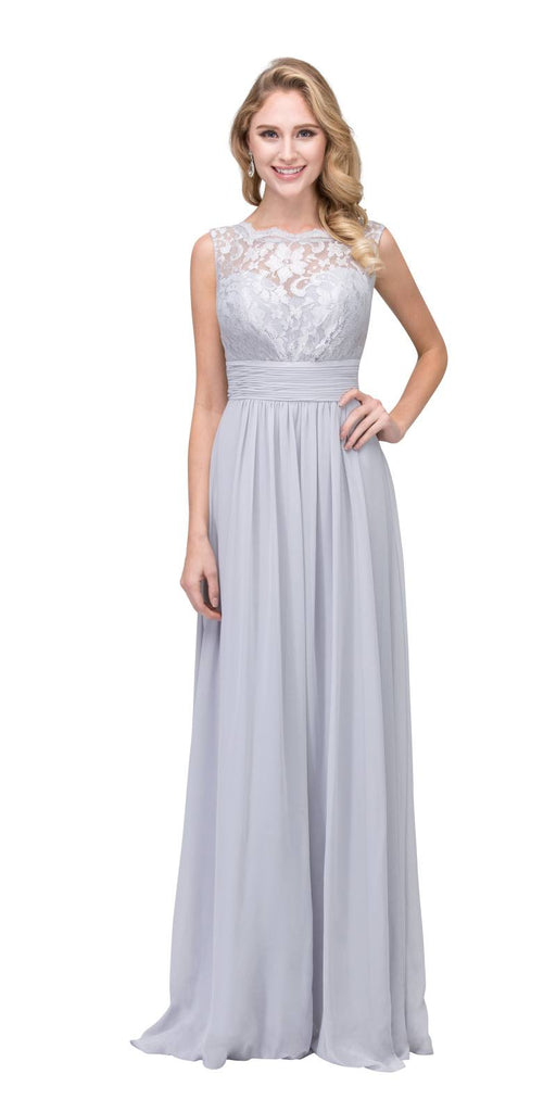 Starbox USA 6144 Silver Floor Length Formal Dress Lace Up Back Sleeveless
