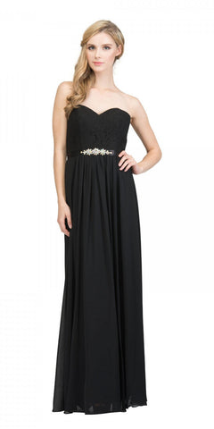 Starbox USA L6145 Lace Sweetheart Neckline Black Chiffon A-Line Bridesmaids Gown Strapless