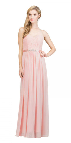 Starbox USA L6145 Lace Sweetheart Neckline Blush Chiffon A-Line Bridesmaids Gown Strapless