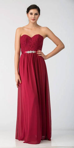 0f47fd6900 Starbox USA L6145 Lace Sweetheart Neckline Burgundy Chiffon A-Line Bridesmaids  Gown Strapless