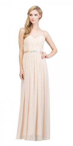 c54e373b7b Starbox USA L6145 Lace Sweetheart Neckline Champagne Chiffon A-Line Bridesmaids  Gown Strapless