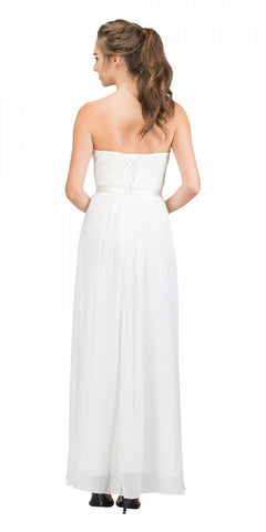 Starbox USA L6145 Lace Sweetheart Neckline Off White Chiffon A-Line Bridesmaids Gown Strapless Back View