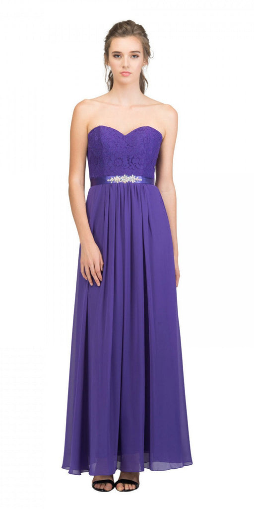Starbox USA L6145 Lace Sweetheart Neckline Purple Chiffon A-Line Bridesmaids Gown Strapless