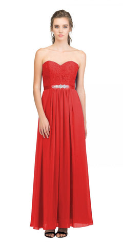 Starbox USA L6145 Lace Sweetheart Neckline Red Chiffon A-Line Bridesmaids Gown Strapless