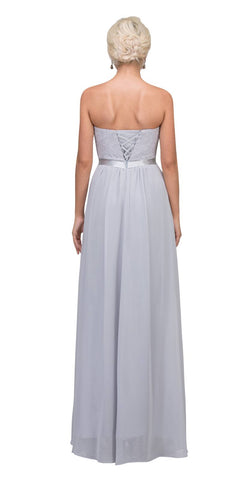 Starbox USA L6145 Lace Sweetheart Neckline Silver Chiffon A-Line Bridesmaids Gown Strapless Back View