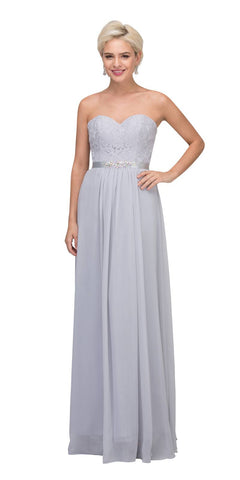 Starbox USA L6145 Lace Sweetheart Neckline Silver Chiffon A-Line Bridesmaids Gown Strapless