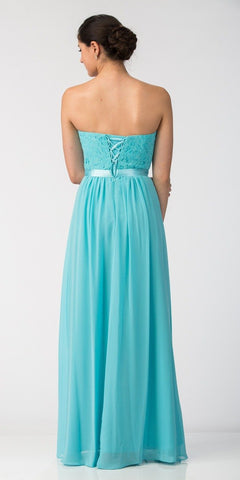 Starbox USA L6145 Lace Sweetheart Neckline Tiffany Blue Chiffon A-Line Bridesmaids Gown Strapless Back View
