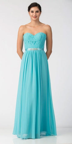 Starbox USA L6145 Lace Sweetheart Neckline Tiffany Blue Chiffon A-Line Bridesmaids Gown Strapless