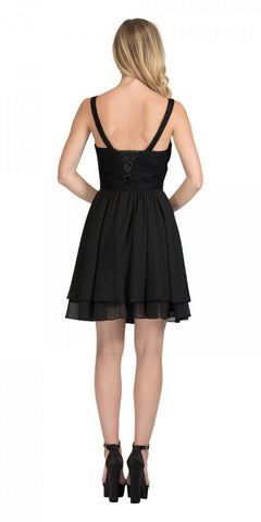 Starbox USA S6146 Sleeveless Bateau Neck Lace Bodice Short Bridesmaids Dress Black Back View