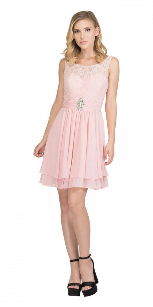 Starbox USA S6146 Sleeveless Bateau Neck Lace Bodice Short Bridesmaids Dress Blush