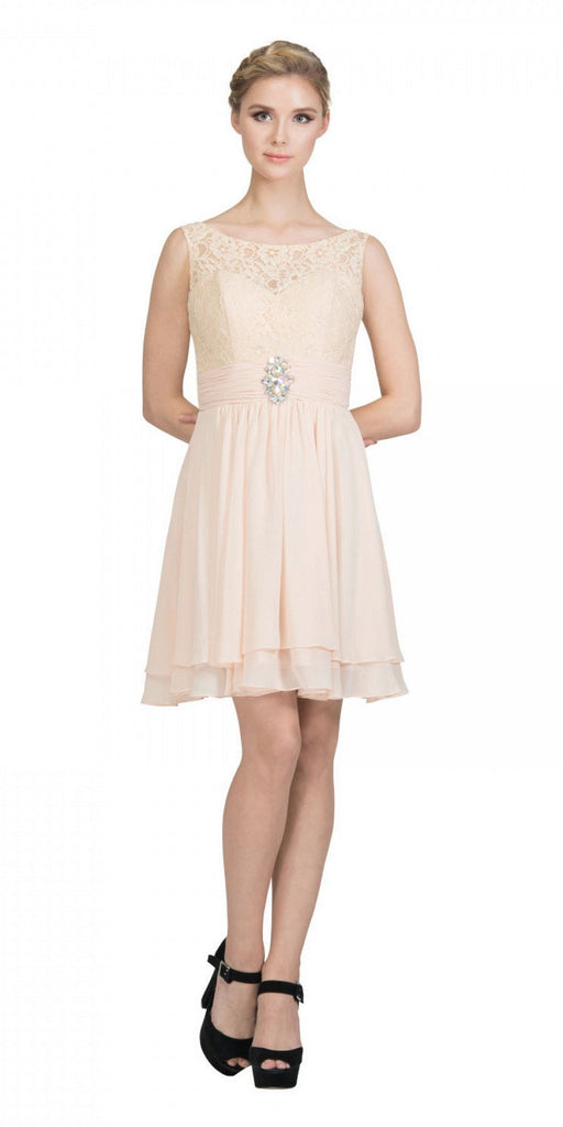 Starbox USA S6146 Sleeveless Bateau Neck Lace Bodice Short Bridesmaids Dress Champagne