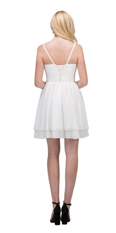 Starbox USA S6146 Sleeveless Bateau Neck Lace Bodice Short Bridesmaids Dress Off White Back View
