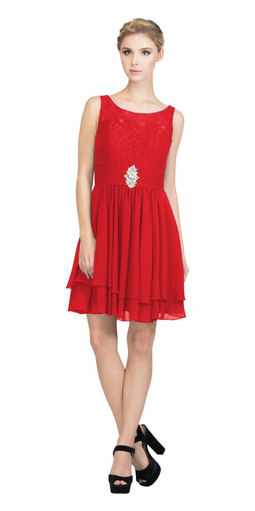 Starbox USA S6146 Sleeveless Bateau Neck Lace Bodice Short Bridesmaids Dress Red