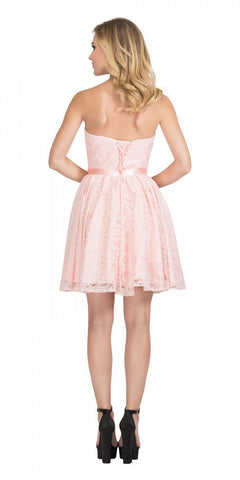 Starbox USA 6147 Sweetheart Neck Lace Overlay Blush A-line Short Damas Dress Strapless Back View