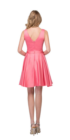 Starbox USA 6148 V-Neck Satin A-line Dress Coral Short Homecoming Sleeveless Back View