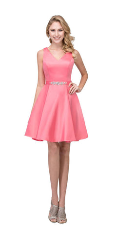 Starbox USA 6148 V-Neck Satin A-line Dress Coral Short Homecoming Sleeveless