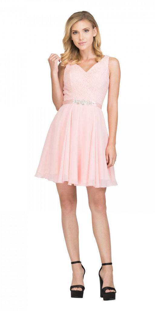 Starbox USA S6149 Sleeveless Lace Bodice V-Neck Blush Chiffon Skirt Damas Dress Short