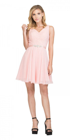 e48909ab469 Starbox USA S6149 Sleeveless Lace Bodice V-Neck Blush Chiffon Skirt Damas  Dress Short
