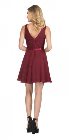 Starbox USA S6149 Sleeveless Lace Bodice V-Neck Burgundy Chiffon Skirt Damas Dress Short Back View