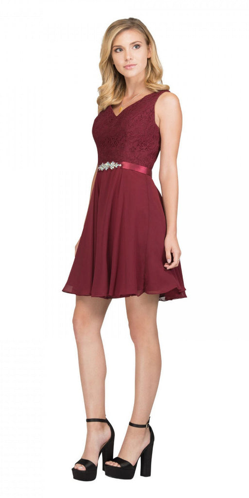 Starbox USA S6149 Sleeveless Lace Bodice V-Neck Burgundy Chiffon Skirt Damas Dress Short