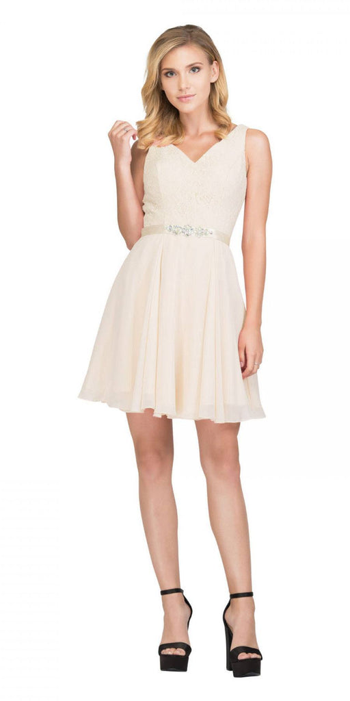 Starbox USA S6149 Sleeveless Lace Bodice V-Neck Champagne Chiffon Skirt Damas Dress Short
