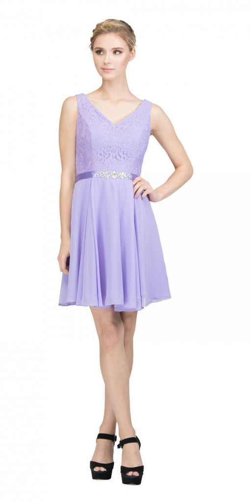 Starbox USA S6149 Sleeveless Lace Bodice V-Neck Lilac Chiffon Skirt Damas Dress Short