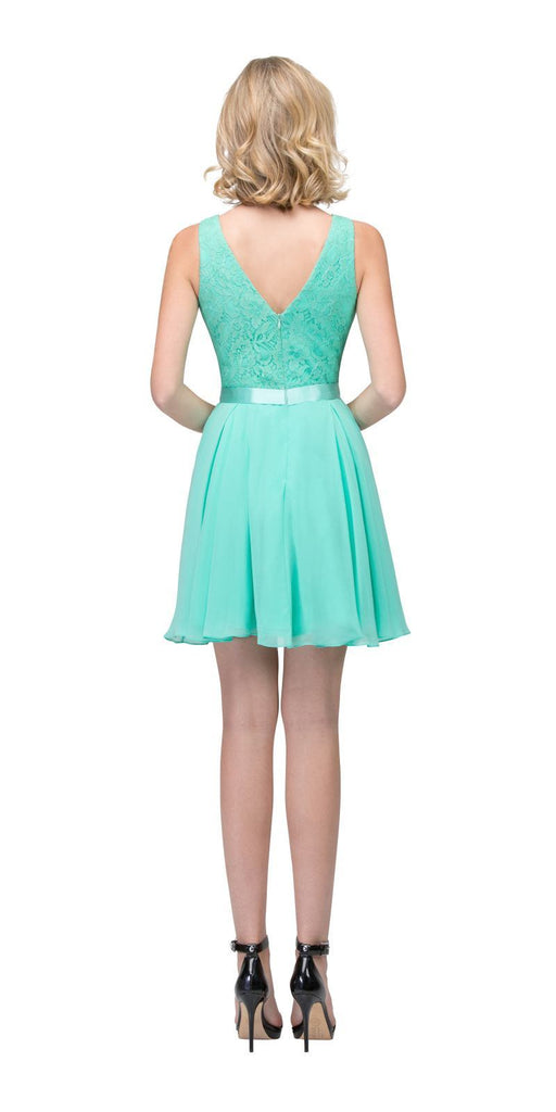 Starbox USA S6149 Sleeveless Lace Bodice V-Neck Mint Chiffon Skirt Damas Dress Short Back View
