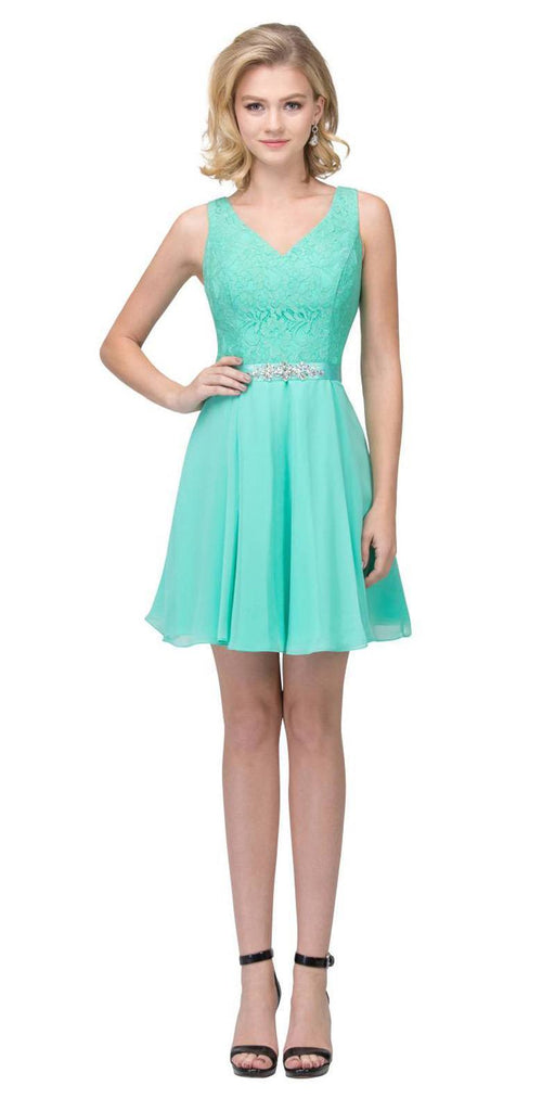 Starbox USA S6149 Sleeveless Lace Bodice V-Neck Mint Chiffon Skirt Damas Dress Short