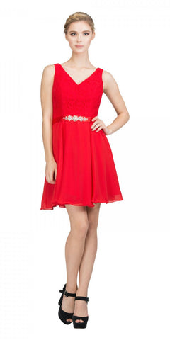 Starbox USA S6149 Sleeveless Lace Bodice V-Neck Red Chiffon Skirt Damas Dress Short