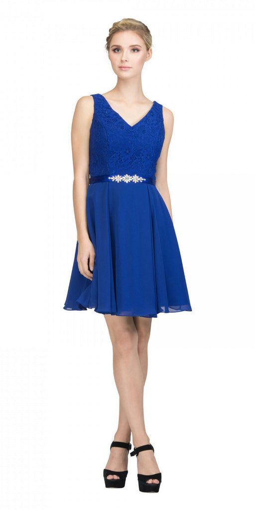 Starbox USA S6149 Sleeveless Lace Bodice V-Neck Royal Blue Chiffon Skirt Damas Dress Short