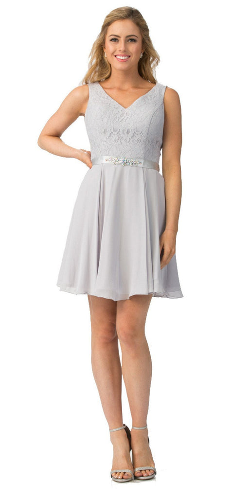 Starbox USA S6149 Sleeveless Lace Bodice V-Neck Silver Chiffon Skirt Damas Dress Short