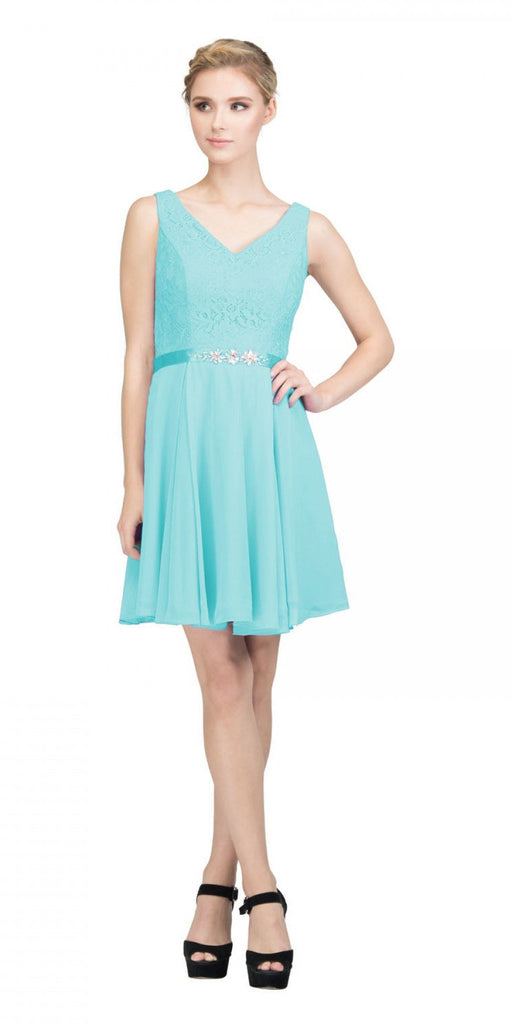 Starbox USA S6149 Sleeveless Lace Bodice V-Neck Tiffany Blue Chiffon Skirt Damas Dress Short