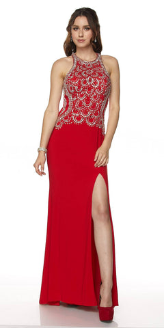 Juliet 615 Floor Length Sexy Formal Gown Beaded Bodice Red