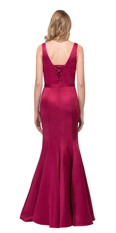 Burgundy Mermaid Long Formal Dress V-Neck Jeweled Waist