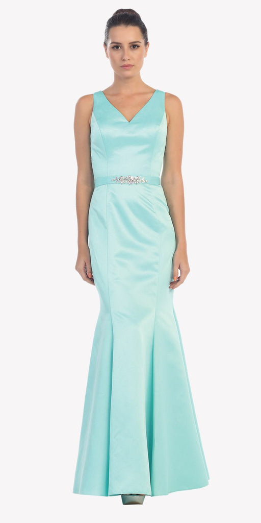 Mint Mermaid Long Formal Dress V-Neck Jeweled Waist