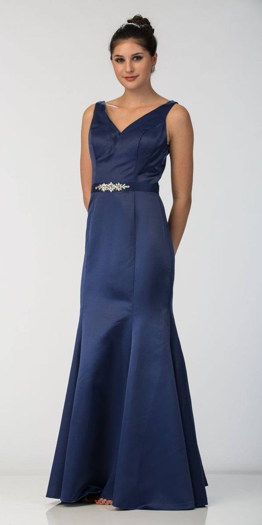 Navy Blue Mermaid Long Formal Dress V-Neck Jeweled Waist