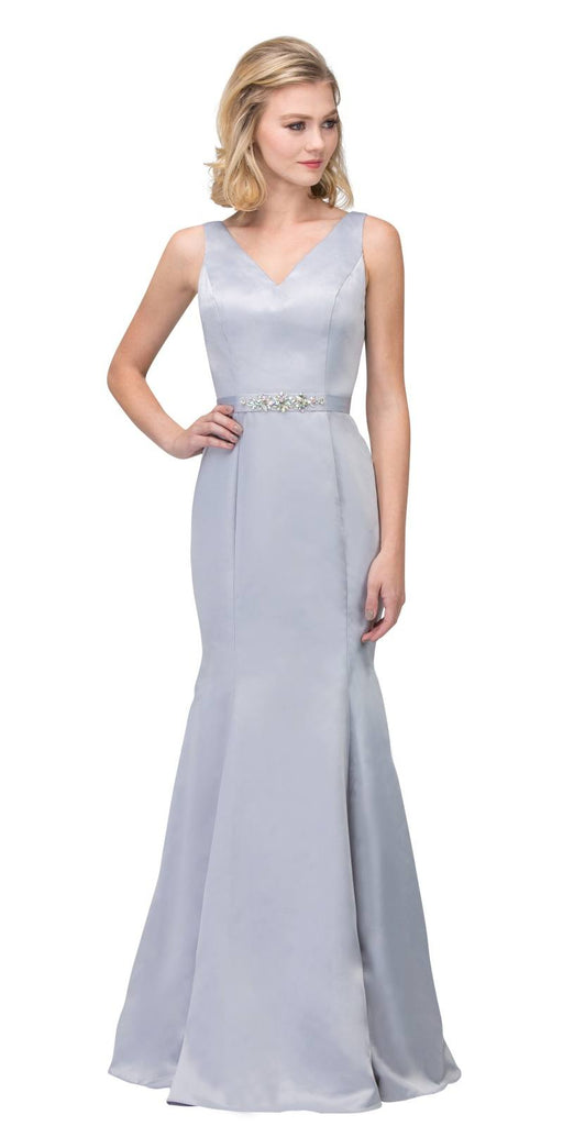 Silver Mermaid Long Formal Dress V-Neck Jeweled Waist