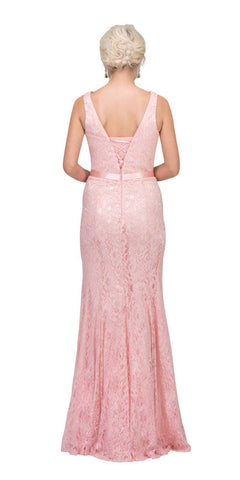 Blush V-Neck and Back Lace Long Formal Dress Back View