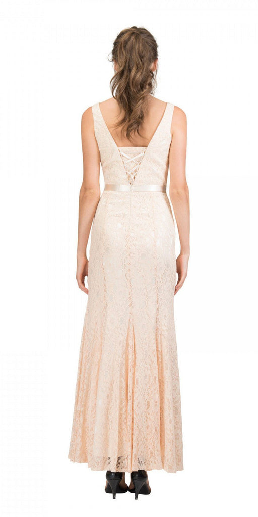 Champagne V-Neck and Back Lace Long Formal Dress Back View