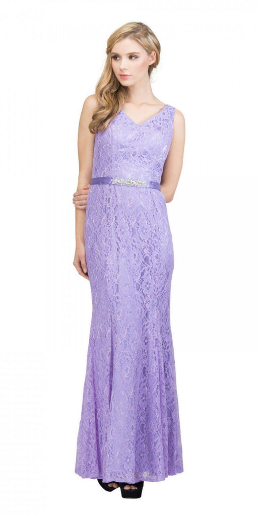 Lilac V-Neck and Back Lace Long Formal Dress