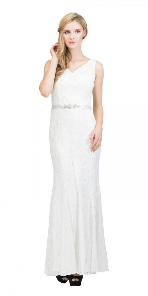 Off White V-Neck and Back Lace Long Formal Dress