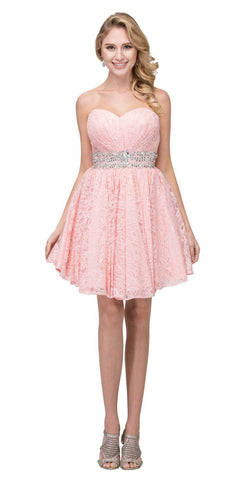 Starbox USA S6153 Strapless Rhinestone Waist Short Prom Dress Blush