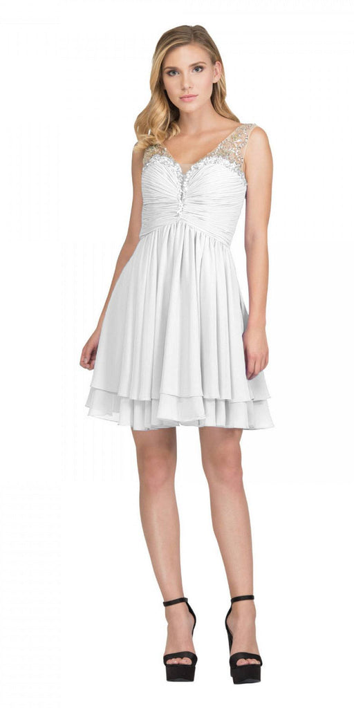 Off White Homecoming Short Dress Ruched Bodice