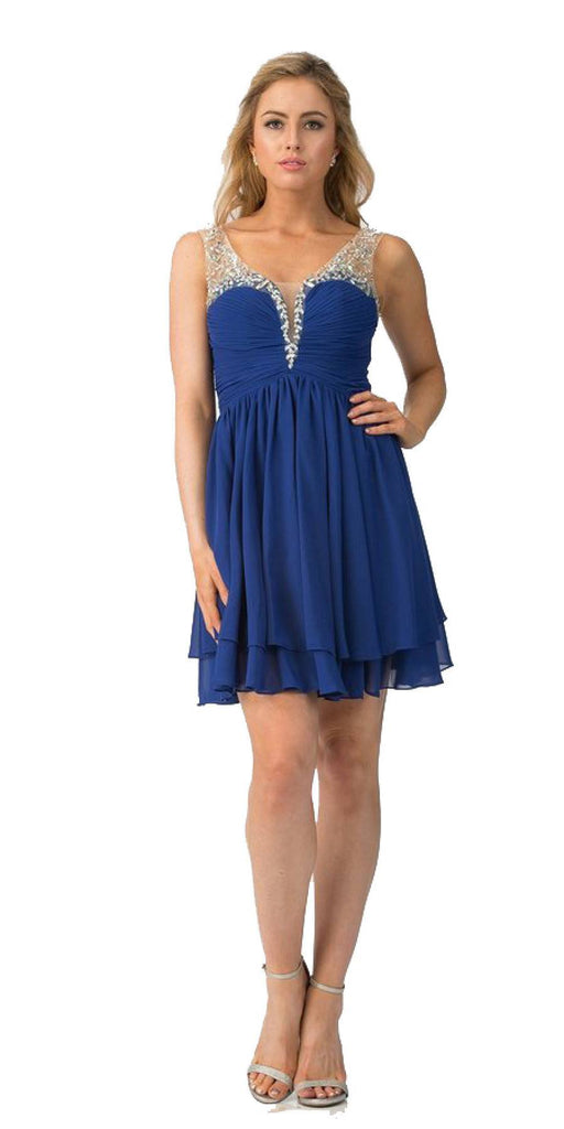 Royal Blue Homecoming Short Dress Ruched Bodice