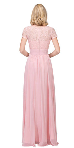 Blush Illusion Lace Top Short Sleeve Long Formal Dress